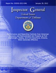 Performance and Reporting Controls Over American ... - DoD-IG