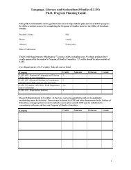 (LLSS) Ph.D. Program Planning Guide - College of Education ...