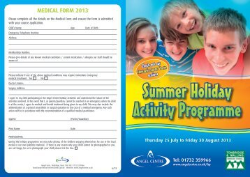 Summer Holiday Activity Programme - Angel Centre