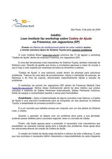 Lean Institute faz workshop sobre Cadeia de Ajuda na Fresenius ...