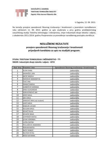 Nesluzbeni rezultati IDTO JESEN 2013 - Tekstilno-tehnološki fakultet