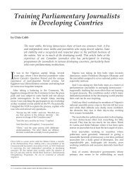 Training Parliamentary Journalists in Developing Countries