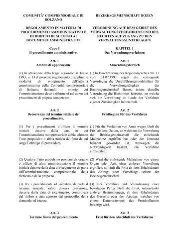 regolamento in materia di procedimento amministrativo e di diritto di ...
