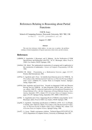 References Relating to Reasoning about Partial Functions