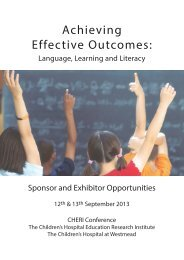 Achieving Effective Outcomes: - CHERI - The Children's Hospital ...