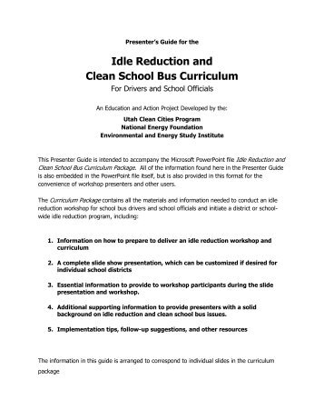 Idle Reduction and Clean School Bus Curriculum - Environmental ...