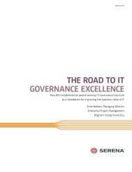 The Road to IT Governance Excellence - Serena Software
