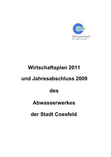 Wirtschaftsplan 2011 und Jahresabschluss 2009 ... - Stadt Coesfeld