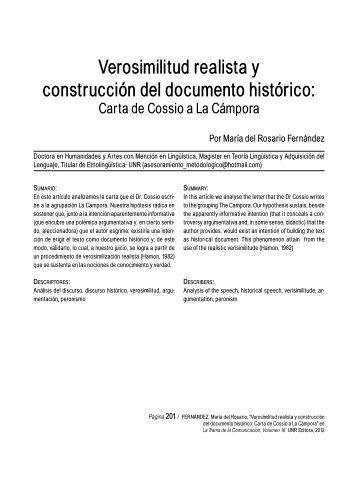 Verosimilitud realista y construcción del documento histórico: