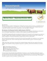 Member News – September/October 2008 - Simmental Australia