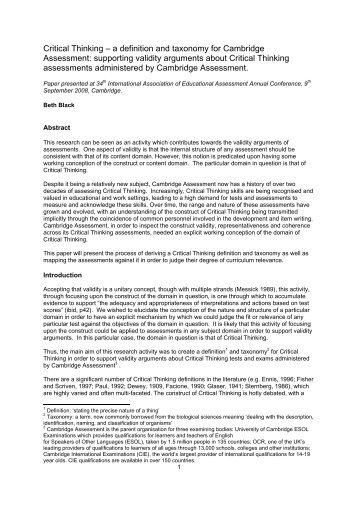 Critical Thinking - Cambridge Assessment