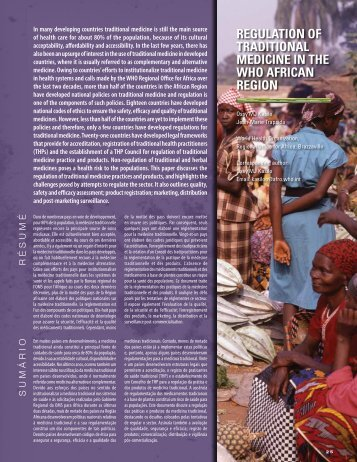 regulation of traditional medicine in the who african region