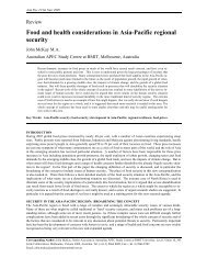 Food and health considerations in Asia-Pacific regional security