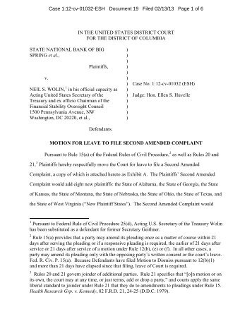 the plaintiffs in a case challenging portions of the Dodd-Frank Act ...