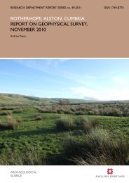 rotherhope, alston, cumbria report on geophysical ... - English Heritage