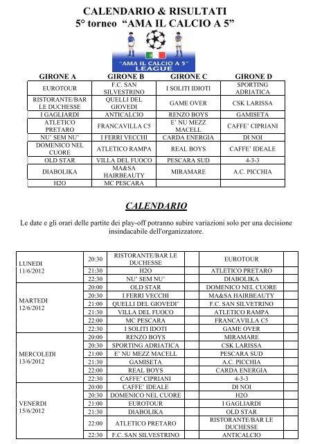 Como Calcio Calendario.Calendario Risultati 5a Torneo A œama Il Calcio A 5a