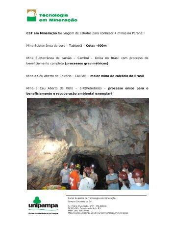Mina Subterrânea de ouro - UNIPAMPA Cursos