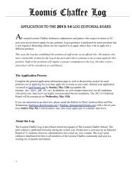 Log Application - The Loomis Chaffee School