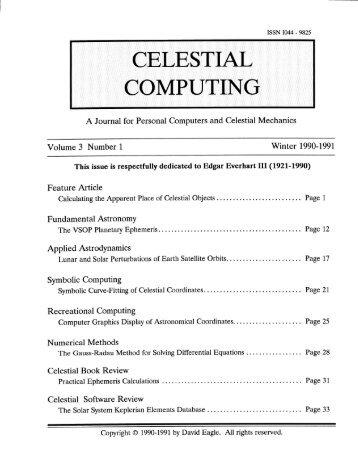 CELESTIAL COMPUTING - Orbital and Celestial Mechanics Website