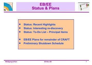 EB/EE Status & Plans