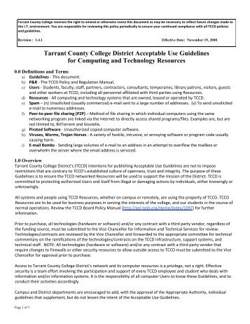 Tarrant County College District Acceptable Use Guidelines for ...