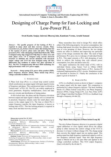 Designing of Charge Pump for Fast-Locking and Low-Power PLL