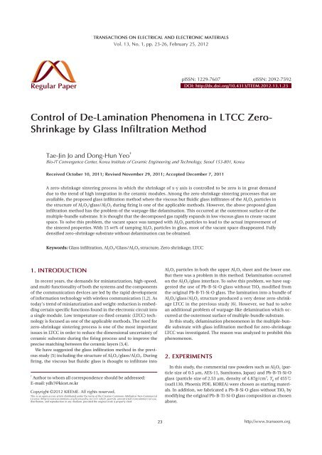 Shrinkage by Glass Infiltration Method - Transactions on
