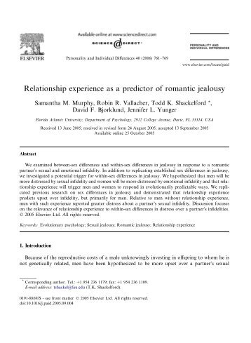 Relationship experience as a predictor of romantic jealousy