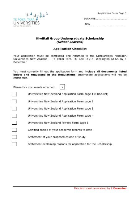 Application Form Page 1 - Universities New Zealand - Te Pōkai Tara
