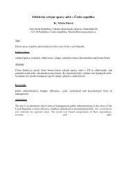 Efektivita veřejné správy měst v České republice