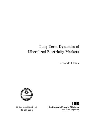 Long-Term Dynamics of Liberalized Electricity Markets IEE