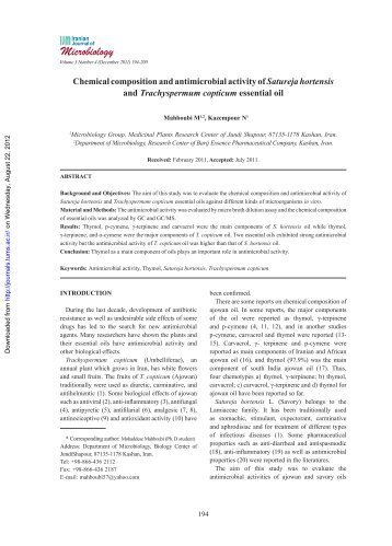Chemical composition and antimicrobial activity of Satureja ...