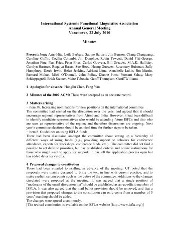 Minutes of the 2010 meeting. - International Systemic-Functional ...