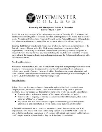 Risk Management Policy & Procedures - Westminster College