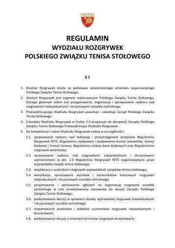 Regulamin Wydziału Rozgrywek PZTS