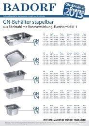 2013 GN-Behälter Preise für - Badorf