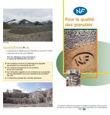 Dépliant NF Granulats - Marque NF