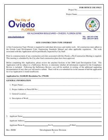 Site Construction Type I - City of Oviedo