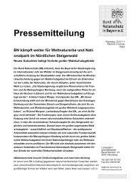 Pressemitteilung des BN vom 22.7.2011 - Nationalpark Steigerwald