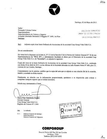Santiago, 02 de Mayo de 2013 Señor Fernando Coloma Correa