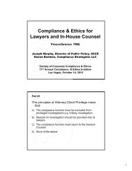 2 slides - Society of Corporate Compliance and Ethics