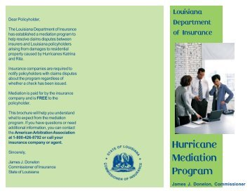 Hurricane Mediation Program - Louisiana Department of Insurance