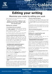 Editing your writing - Student Services