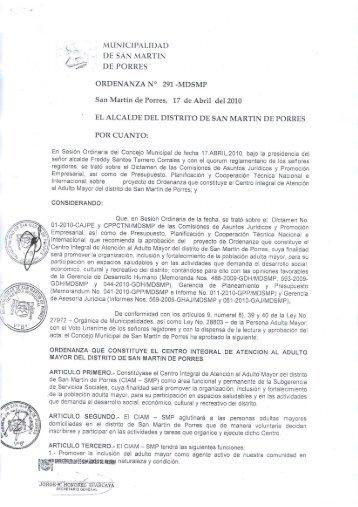 ordenanza nº 291-2010-mdsmp - Municipalidad de San Martín de ...