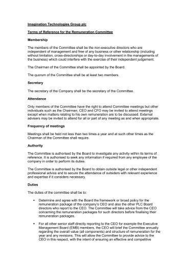 Terms of Reference of the Remuneration Committee - Imagination ...