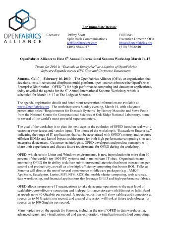 OpenFabrics Alliance announces Microsoft joins the Alliance at the ...