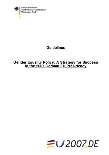 Guidelines Gender Equality Policy: A Strategy for Success in the ...