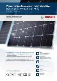 Powerful performance – high stability. Bosch Solar Module c-Si M 60
