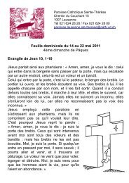 Feuille dominicale du 14 au 22 mai 2011 4ème ... - Cath-vd.ch