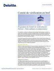 Comité de vérification en bref - Center for Corporate Governance ...